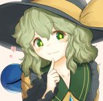 1girl :3 black_headwear blush buttons collar collarbone collared_shirt commentary_request eyeball eyebrows_visible_through_hair finger_to_chin finger_to_mouth frilled_collar frilled_sleeves frills green_eyes green_hair hair_between_eyes hat hat_ribbon heart index_finger_raised komeiji_koishi long_sleeves looking_at_viewer naughty_face one_eye_closed orange_background ribbon shirt short_hair sidelocks simple_background smile solo third_eye touhou uisu_(noguchipint) upper_body wavy_hair wide_sleeves yellow_ribbon yellow_shirt