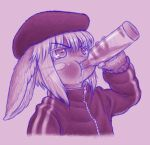 1girl alcohol animal_ears blush bune_poster drinking eyebrows_visible_through_hair flat_cap furry gopnik hat highres made_in_abyss nanachi_(made_in_abyss) vodka