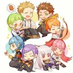4boys 4girls bird blonde_hair blue_hair book bow_(weapon) braid brown_eyes brown_hair cape chibi claude_von_riegan closed_eyes closed_mouth cookie crown_braid dark_skin dark_skinned_male earrings fire_emblem fire_emblem:_three_houses flower food from_side garreg_mach_monastery_uniform glasses green_eyes green_hair hilda_valentine_goneril holding holding_book holding_bow_(weapon) holding_flower holding_weapon ignatz_victor jewelry ky0xzjfm leonie_pinelli long_hair long_sleeves lorenz_hellman_gloucester lysithea_von_ordelia marianne_von_edmund multiple_boys multiple_girls one_eye_closed open_mouth orange_hair pink_eyes pink_hair purple_hair raphael_kirsten short_hair sitting twintails twitter_username uniform v watermark weapon white_hair yellow_cape