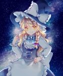 1girl apron arm_up black_skirt black_vest blonde_hair blue_neckwear bow bowtie braid commentary cowboy_shot hair_ribbon hand_on_hip hat hat_ribbon head_tilt highres kirisame_marisa long_hair long_sleeves looking_at_viewer milky_way night outdoors ribbon shirt single_braid skirt sky smile solo standing star_(sky) starry_sky symbol_commentary touhou tress_ribbon very_long_hair vest waist_apron white_shirt witch_hat yellow_eyes yurigaoka_nayuki