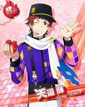 cap character_name idolmaster idolmaster_side-m jacket red_eyes redhead scarf short_hair smile tendou_teru wink