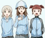 3girls aki_(girls_und_panzer) aokaze_(mimi_no_uchi) arms_behind_back bangs blue_background blue_headwear blue_jacket blue_shirt blue_skirt blunt_bangs bright_pupils brown_eyes brown_hair commentary dress_shirt emblem eyebrows_visible_through_hair girls_und_panzer green_eyes grey_skirt hair_tie hand_on_own_chest hands_in_pockets hat jacket keizoku_military_uniform keizoku_school_uniform light_brown_hair long_hair long_sleeves looking_at_viewer mika_(girls_und_panzer) mikko_(girls_und_panzer) military military_uniform multiple_girls music open_mouth pleated_skirt raglan_sleeves red_eyes redhead school_uniform shirt short_hair short_twintails simple_background singing skirt standing striped striped_shirt track_jacket twintails uniform vertical-striped_shirt vertical_stripes white_pupils white_shirt wing_collar