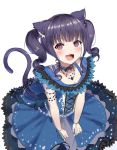 1girl animal_ears bang_dream! bangs blue_choker blue_dress blue_neckwear blue_skirt blunt_bangs blush cat_ears cat_tail choker collarbone commentary_request dress drill_hair eyebrows_visible_through_hair fang from_above gloves jewelry lace layered_dress looking_at_viewer mia_(fai1510) necklace neckwear open_mouth purple_hair red_eyes short_hair sidelocks simple_background skirt smile solo tail twintails udagawa_ako white_background white_gloves