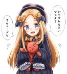 1girl :d abigail_williams_(fate/grand_order) admjgdme bangs black_bow black_dress black_headwear blonde_hair blue_eyes blush bow commentary_request dotted_line dress fate/grand_order fate_(series) forehead hair_bow hat highres holding holding_stuffed_animal long_hair long_sleeves looking_at_viewer open_mouth orange_bow parted_bangs polka_dot polka_dot_bow simple_background sleeves_past_fingers sleeves_past_wrists smile solo speech_bubble stuffed_animal stuffed_toy teddy_bear translated upper_body very_long_hair white_background