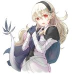 1girl armor black_hairband blue_cape cape corrin_(fire_emblem) corrin_(fire_emblem)_(female) dragon_tail fire_emblem fire_emblem_fates hairband long_hair open_mouth pointy_ears red_eyes robaco solo tail white_hair