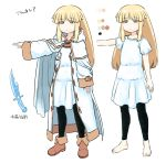 1girl amnesia_(idea_factory) blonde_hair blue_eyes cape character_request character_sheet color_guide commentary_request dagger eyebrows_visible_through_hair fantasy hood hood_down long_hair robe tsukudani_(coke-buta) weapon white_background