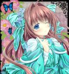 1girl ahoge asakura_otome blue_eyes blush bow brown_hair bug butterfly commentary_request da_capo da_capo_ii dress eyebrows_visible_through_hair floating_hair flower green_bow green_dress hair_between_eyes hair_bow hair_flower hair_intakes hair_ornament highres index_finger_raised insect kayura_yuka long_hair long_sleeves looking_at_viewer one_eye_closed smile solo upper_body