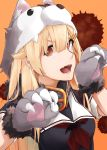 1girl absurdres animal_hood bangs black_shirt blonde_hair collared_shirt dog_hood gloves grey_gloves hair_ornament hairclip highres hood kantai_collection kumanoko long_hair looking_at_viewer neckerchief orange_background paw_gloves paws red_eyes red_neckwear sailor_collar sailor_shirt shirt short_sleeves solo upper_body very_long_hair white_sailor_collar yuudachi_(kantai_collection)