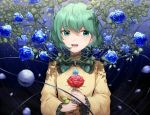 1girl :d absurdres bangs blue_eyes blue_flower blue_rose eyebrows_visible_through_hair flower frilled_sleeves frills green_hair highres holding holding_flower huge_filesize komeiji_koishi long_sleeves looking_at_viewer mozuno_(mozya_7) open_mouth petals red_flower red_rose rose shirt short_hair smile solo sweatdrop touhou upper_body yellow_shirt