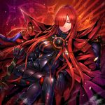 1girl armored_boots black_bodysuit bodysuit boots breasts cape closed_mouth crossed_legs fate/grand_order fate_(series) hair_between_eyes hair_over_one_eye highres long_hair looking_at_viewer oda_nobunaga_(fate) oda_nobunaga_(fate)_(all) oda_nobunaga_(maou_avenger)_(fate) oda_uri popped_collar red_cape red_eyes redhead rindou_(rdgraphica) sitting solo very_long_hair