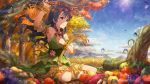 armpits autumn black_hair blush dress idolmaster_million_live!_theater_days long_hair red_eyes sky takayama_sayoko
