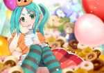 1girl absurdres aqua_hair bakemonogatari balloon bangs blush doughnut drawdream1025 dress dress_shirt finger_to_mouth food googly_eyes green_eyes hand_on_own_knee hat headwear highres indoors legs long_hair looking_at_viewer monogatari_(series) ononoki_yotsugi open_mouth orange_dress orange_headwear parted_bangs pointy_ears red_skirt ribbon shirt sitting skirt solo striped striped_legwear stuffed_animal stuffed_elephant stuffed_frog stuffed_lion stuffed_mouse stuffed_penguin stuffed_toy teddy_bear thighs twintails white_ribbon