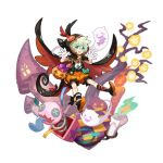 1boy asymmetrical_clothes asymmetrical_legwear buttons candle checkered checkered_floor cloak dragalia_lost fang full_body ghost ghost_tail gloves green_eyes green_hair halloween halloween_costume hood hooded_cloak jack-o'-lantern jack_in_the_box_(toy) looking_at_viewer lowen_(dragalia_lost) non-web_source official_art open_hands open_mouth puffy_shorts pumpkin ribbon saitou_naoki shorts smile solo transparent_background tree window