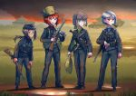 4girls :d aircraft airplane belt binoculars blue_eyes blush bolt_action brown_hair dark_skin dirty_clothes erica_(naze1940) fire grass green_eyes grin ground_vehicle gun hat holding holding_gun holding_weapon knife long_hair mauser_98 military military_uniform military_vehicle motor_vehicle mp40 multiple_girls open_mouth orange_eyes orange_hair original pipe ponytail pouch red_eyes rifle scar sheath sheathed short_hair silver_hair smile submachine_gun tank teeth uniform weapon world_war_ii