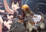 2girls black_hair brown_hair commentary_request dinosaur dress fleeing girls_frontline highres horns korean_commentary lee-enfield_(girls_frontline) multiple_girls ouroboros_(girls_frontline) riding saliva sharp_teeth solop teeth torn_clothes wedding_dress yellow_eyes