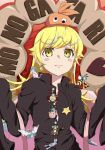 animal_costume araragi_koyomi araragi_koyomi_(cosplay) bag bakemonogatari bee_costume blonde_hair boots cat_costume cosplay crab_costume cross cross_earrings doughnut drawdream1025 earrings egg_earrings fang food hachikuji_mayoi hachikuji_mayoi_(cosplay) headwear highres japanese_clothes jewelry kimono long_hair monkey_costume monogatari_(series) necklace ononoki_yotsugi oshino_shinobu snake_costume stapler star star_necklace wings yellow_eyes yukata