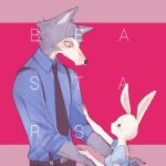 beastars belt dress eye_contact fur furry grey_fur haru_(beastars) legosi looking_at_another necktie rabbit sakurai_rin scar suspenders white_fur wolf