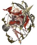 1girl :d blonde_hair bow_(weapon) bustier cloak crossbow dress full_body hair_ornament huge_weapon ji_no little_red_riding_hood_(sinoalice) long_hair looking_at_viewer official_art open_mouth orange_eyes red_dress sinoalice smile smoke solo thigh_strap torn_cloak torn_clothes transparent_background upper_teeth weapon