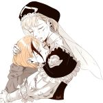 013_misshe 2girls annette_fantine_dominic blonde_hair blood closed_eyes closed_mouth earrings fire_emblem fire_emblem:_three_houses hat hug injury jewelry long_hair long_sleeves mercedes_von_martritz multiple_girls orange_hair short_hair simple_background upper_body veil white_background