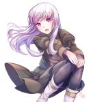 1girl boots fire_emblem fire_emblem:_three_houses garreg_mach_monastery_uniform knee_boots long_hair long_sleeves lysithea_von_ordelia open_mouth pantyhose pink_eyes simple_background sitting solo uniform white_background white_hair yukimiyuki