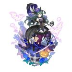 1girl animal_print bat blue_eyes candle clothing_request dark_green_hair dragalia_lost dress green_hair halloween halloween_costume hat jack-o'-lantern long_hair looking_at_viewer navel non-web_source odetta_(dragalia_lost) official_art saitou_naoki see-through smile solo spider_print spider_web_print stairs transparent_background witch_hat