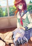 2girls absurdres angel_beats! bangs blush classroom closed_eyes curled_up green_eyes hand_on_another's_head highres huge_filesize kanahigu lap_pillow long_hair looking_down lying multiple_girls purple_hair ribbon school_uniform shinda_sekai_sensen_uniform silver_hair skirt sleeping smile sunlight tenshi_(angel_beats!) thigh-highs yuri_(angel_beats!)