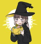 1girl anyan_(jooho) candy english_commentary food girls_frontline grey_hair halloween halloween_basket halloween_costume happy hat lollipop m200_(girls_frontline) ponytail robe solo violet_eyes witch witch_hat