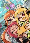 3girls cellphone city closed_eyes cup fangs inkling long_hair multiple_girls octoling open_mouth orange_hair phone pink_hair pointy_ears self_shot smartphone smile splatoon_(series) splatoon_2 squidbeak_splatoon tentacle_hair violet_eyes wanoka