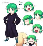 2girls amnesia_(idea_factory) blush character_request character_sheet cheek_pull color_guide crying ear_blush expressions eyebrows_visible_through_hair fang green_eyes green_hair hands_on_hips multiple_girls pointy_ears robe short_hair smirk tsukudani_(coke-buta) white_background