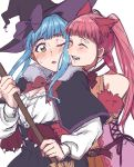 2girls absurdres animal_ears belt blue_hair bow braid brown_eyes capelet cat_ears closed_eyes crown_braid fire_emblem fire_emblem:_three_houses fur_trim halloween_costume hat highres hilda_valentine_goneril long_hair long_sleeves marianne_von_edmund multiple_girls one_eye_closed open_mouth pink_hair simple_background tokkomosa twintails upper_body white_background witch_hat