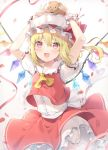 1girl 6u_(eternal_land) :d arms_up artist_name bangs blonde_hair bloomers blush commentary_request cowboy_shot crystal eyebrows_visible_through_hair flandre_scarlet frilled_shirt_collar frills gradient gradient_background grey_background hair_between_eyes hat hat_ribbon looking_at_viewer mob_cap on_head one_side_up open_mouth petals petticoat puffy_short_sleeves puffy_sleeves red_eyes red_ribbon red_skirt red_vest ribbon rose_petals sash shirt short_hair short_sleeves skirt smile solo standing stuffed_animal stuffed_toy teddy_bear touhou twitter_username underwear vest white_bloomers white_headwear white_sash white_shirt wings wrist_cuffs yellow_neckwear