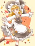 1girl :d acorn apron autumn black_skirt black_vest blonde_hair boots braid brown_footwear contrapposto cross-laced_footwear eyebrows_visible_through_hair feet_out_of_frame ginkgo_leaf hair_ribbon hat hat_ribbon high_collar highres kirisame_marisa leaf leaning_to_the_side long_hair long_sleeves maple_leaf mushroom open_mouth orange_background outstretched_arms petticoat ribbon shirt single_braid skirt smile solo spread_arms standing standing_on_one_leg symbol_commentary touhou tress_ribbon two-tone_background very_long_hair vest waist_apron white_shirt witch_hat yellow_background yellow_eyes yurigaoka_nayuki