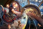 1girl absurdres animal_ears belt black_legwear black_skirt boots brown_hair cat cat_ears cat_tail ceiling_light clouds cloudy_sky commentary_request dutch_angle frilled_skirt frills from_behind highres huge_filesize lamp long_sleeves looking_back medium_hair original outstretched_arms railroad_tracks red_eyes rishia running sign skirt sky socks stairs subway_station tail train_station_platform tunnel underground wavy_mouth white_skirt window