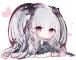1girl bangs barefoot big_hair black_dress black_ribbon blush chibi closed_mouth commentary_request cottontailtokki dress elbow_gloves eyebrows_visible_through_hair frilled_dress frills full_body gloves granblue_fantasy grey_gloves hair_between_eyes hair_ribbon heart long_hair looking_at_viewer orchis red_eyes ribbon shingeki_no_bahamut sidelocks silver_hair solo strapless strapless_dress two_side_up very_long_hair white_background