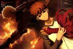 absurdres archer bandages dark_skin dark_skinned_male emiya_shirou fate/stay_night fate_(series) fire heaven's_feel highres raglan_sleeves redhead sword weapon white_hair