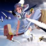 1girl badge bangs bird blue_dress broom broom_riding brown_eyes brown_hair cup disposable_cup dress drinking drinking_straw fast_food food french_fries hamburger hat headphones highres holding holding_food masao necktie night night_sky original outdoors short_hair short_sleeves sky solo thigh-highs white_legwear witch