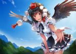 1girl :d bangs belt black_belt black_hair black_neckwear black_ribbon black_skirt black_wings blue_sky blush breasts clouds commentary_request cowboy_shot day eyebrows_visible_through_hair feathered_wings hat leaning_forward looking_at_viewer matsuda_(matsukichi) medium_breasts miniskirt mountain neck_ribbon open_mouth outdoors petticoat pleated_skirt pom_pom_(clothes) puffy_short_sleeves puffy_sleeves reaching_out red_eyes ribbon shameimaru_aya shirt short_hair short_sleeves skirt sky smile solo standing tassel tokin_hat touhou white_shirt wings