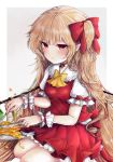 1girl :t absurdly_long_hair alternate_hair_length alternate_hairstyle blonde_hair blush commentary_request cravat eating flandre_scarlet food fork frilled_shirt_collar frilled_sleeves frills gradient gradient_background grey_background hair_ribbon highres holding holding_fork holding_knife honey knife long_hair looking_at_viewer no_hat no_headwear pancake petticoat plate pointy_ears puffy_short_sleeves puffy_sleeves red_eyes red_ribbon red_skirt red_vest ribbon seiza shirt short_sleeves side_ponytail simple_background sitting skirt solo touhou very_long_hair vest white_shirt wings wrist_cuffs yellow_neckwear yuma_(yuuma_pants)