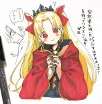 1girl bangs black_dress blonde_hair blush character_request cloak closed_mouth commentary_request dress earrings ereshkigal_(fate/grand_order) fate/grand_order fate_(series) hair_ribbon hands_up head_tilt highres holding infinity jewelry long_hair looking_at_viewer parted_bangs parted_lips photo profile red_cloak red_eyes red_ribbon ribbon signature skull smile sofra tiara traditional_media translation_request two_side_up very_long_hair white_background