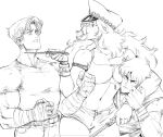1girl 2boys 90s armlet bandaged_hands bandages big_hair boy_sandwich breast_press breasts clenched_hands cody_travers commentary david_liu dual_wielding english_commentary final_fight gai_(final_fight) hat height_difference highres holding knife knife_to_throat large_breasts male_focus midriff monochrome multiple_boys muscle navel ninja peaked_cap poison_(final_fight) riding_crop sandwiched short_shorts shorts sketch slender_waist strap_slip work_in_progress