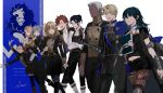 4girls 5boys annette_fantine_dominic armor ashe_ubert black_cape black_hair blonde_hair blue_cape blue_eyes blue_hair book boots bow byleth_(fire_emblem) byleth_(fire_emblem)_(female) cape closed_eyes closed_mouth copyright_name crossed_arms dagger dark_skin dark_skinned_male dedue_molinaro dimitri_alexandre_blaiddyd felix_hugo_fraldarius fire_emblem fire_emblem:_three_houses garreg_mach_monastery_uniform green_eyes grey_hair hair_bow highres holding holding_book ingrid_brandl_galatea knee_boots long_hair long_sleeves low_ponytail medium_hair mercedes_von_martritz multiple_boys multiple_girls open_mouth orange_hair pantyhose parted_lips redhead satoudamawo sheath sheathed short_hair signature sylvain_jose_gautier uniform weapon white_hair
