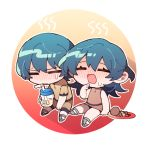 1boy 1girl blush byleth_(fire_emblem) byleth_(fire_emblem)_(female) byleth_(fire_emblem)_(male) chibi closed_eyes closed_mouth cup drinking_straw egg fire_emblem fire_emblem:_three_houses friedbirdchips open_mouth plate short_sleeves sitting sleeveless