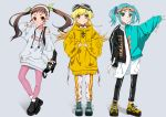 3girls absurdres alternate_costume aqua_hair bag bakemonogatari bangs black_footwear blonde_hair brown_hair bunny_ornament choker doughnut doughnut_print drawdream1025 earbuds_around_neck earphones earphones earpiece eyebrows_visible_through_hair fang fingers_together food goggles goggles_on_head green_eyes hachikuji_mayoi hand_in_pocket headband highres hood hooded_sweater leg_warmers long_hair long_sleeves monogatari_(series) multiple_girls ononoki_yotsugi oshino_shinobu pants pink_legwear red_eyes smile sportswear star sweater sweater_vest track_pants v yellow_eyes yellow_footwear zipper_skirt