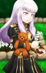 1girl closed_mouth doughnut eating epaulettes fire_emblem fire_emblem:_three_houses food food_on_face garreg_mach_monastery_uniform grass holding holding_food holding_stuffed_animal long_hair long_sleeves lysithea_von_ordelia nadesico777 pink_eyes solo stuffed_animal stuffed_toy teddy_bear uniform white_hair