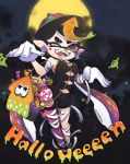 +_+ 1girl aori_(splatoon) bandages basket black_hair black_jumpsuit candy domino_mask earrings fangs food full_moon gloves halloween hat highres jewelry lollipop mask mole mole_under_eye moon ofuda okome_2g2g one_eye_closed open_mouth pointy_ears purple_legwear short_jumpsuit solo splatoon_(series) splatoon_1 tentacle_hair tombstone white_gloves