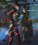 1boy 1girl armor beard black_bodysuit black_cape black_hair black_ribbon bodysuit breasts cape closed_eyes facial_hair fate/grand_order fate_(series) grey_hair hair_ribbon highres holographic_interface holographic_monitor katana multicolored_hair old_man pixiv14048951 red_eyes redhead ribbon scabbard sheath sheathed small_breasts space_ishtar_(fate) standing sword two-tone_hair two_side_up weapon yagyuu_munenori_(fate/grand_order)