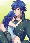 1boy 1girl ameno_(a_meno0) black_gloves blue_dress blue_eyes blue_hair blush buttons chrom_(fire_emblem) closed_mouth collarbone commentary_request crying crying_with_eyes_open dress eyebrows_visible_through_hair father_and_daughter fire_emblem fire_emblem_awakening gloves hair_between_eyes hug long_hair looking_at_another lucina_(fire_emblem) open_eyes short_hair sleeveless smile tears younger