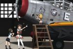 3girls aircraft aircraft_request airplane annin_musou antenna_hair black_hair black_neckwear blonde_hair blue_sailor_collar blue_skirt brown_eyes closed_eyes commentary_request double_bun fairy_(kantai_collection) gloves indoors kantai_collection ladder miyuki_(kantai_collection) multiple_girls naka_(kantai_collection) necktie one_eye_closed photo_(object) pleated_skirt pointing puffy_short_sleeves puffy_sleeves remodel_(kantai_collection) sailor_collar school_uniform serafuku short_hair short_sleeves skirt standing thigh-highs v white_gloves white_legwear