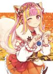 1girl alternate_costume animal_ear_fluff animal_ears arms_up autumn autumn_leaves bang_dream! bangs blonde_hair blunt_bangs blurry blurry_background blush brown_flower closed_mouth commentary cowboy_shot damu_(7spoil) detached_sleeves ear_ribbon eyebrows_visible_through_hair eyeliner fake_animal_ears flower fluffy fox_ears fox_tail frilled_skirt frills fur_trim gold_trim hair_flower hair_ornament hair_ribbon highres japanese_clothes jewelry layered_skirt long_hair long_sleeves looking_at_viewer makeup multicolored_hair one_eye_closed orange_flower pareo_(bang_dream!) paw_pose pearl_(gemstone) pink_hair pom_pom_(clothes) puffy_sleeves red_eyes red_flower red_ribbon ribbon sidelocks skirt solo striped striped_ribbon tail tareme tree two-tone_hair wide_sleeves