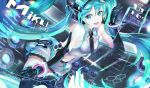 119 1girl :d absurdly_long_hair black_gloves black_legwear black_neckwear blue_eyes blue_hair breasts collared_shirt elbow_gloves floating_hair gloves grey_shirt grey_skirt hatsune_miku highres long_hair looking_at_viewer medium_breasts midriff miniskirt navel open_mouth pleated_skirt shiny shiny_hair shirt sideboob skirt sleeveless sleeveless_shirt smile solo stomach thigh-highs very_long_hair vocaloid wing_collar zettai_ryouiki